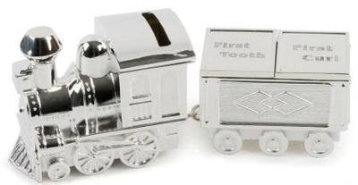 - Silver Plated Train Money Box/First Tooth/First Curl/Bn by Legends