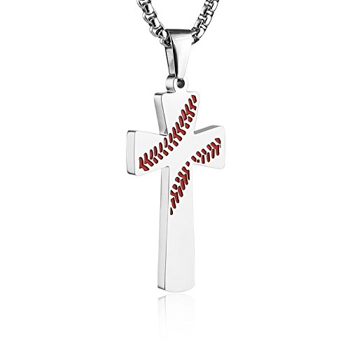 HZMAN Baseball Cross Pendant, I CAN DO All Things Strength Bible Verse Stainless Steel Necklace (Silver)