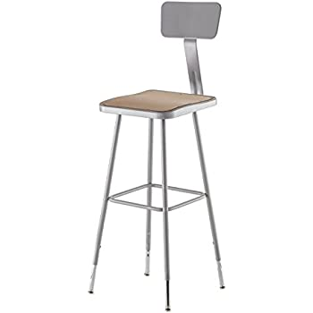 """National Public Seating (6330HB) - 31-39"""""""" Adjustable Height Heavy Duty Steel Square Stool with Backrest"""