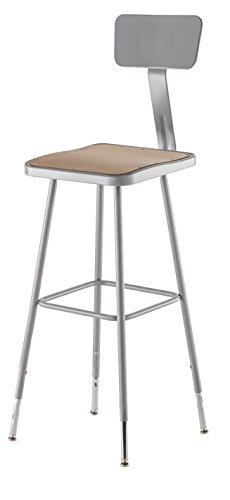 NPS 32 -39 Height Adjustable Heavy Duty Square Seat Steel Stool With Backrest, Grey