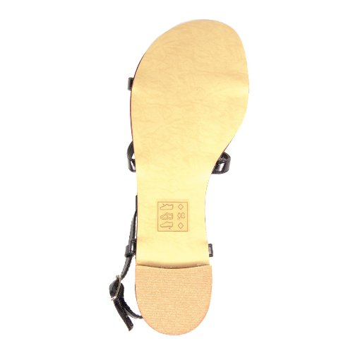 SPOT ON Sandals VINTAGE PATENT BOWS L6048 black 38 GE1Ex