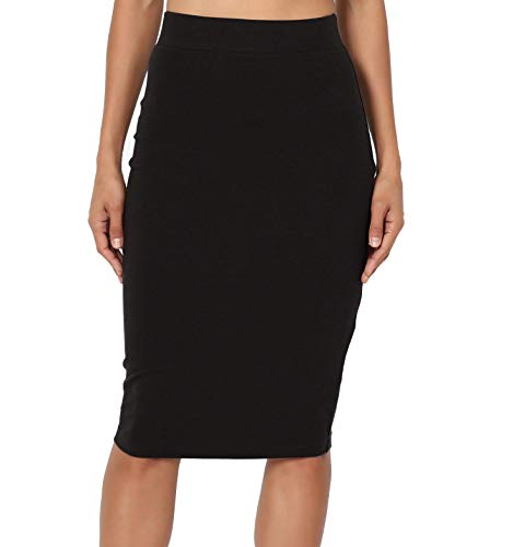 Pretty Fashion Plain Pencil Skirt with Separate Elasticated Waist Women's Midi Length Skirt Approx 25 Inches Knee Length…
