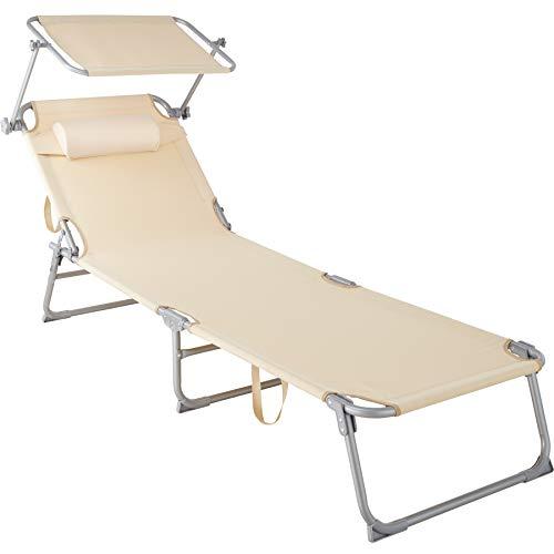 🥇 TecTake 800772 Tumbona de Playa con Parasol