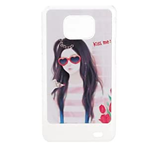 AES - Red Glasses Girl Pattern Hard Case with Rhinestone for Samsung Galaxy S2 I9100
