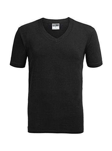 ZITY Men's V-Neck Performance T-Shirt/Alipolo Plus Size Fashion Cotton Tee Black 4XL -