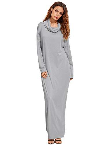 Verdusa Women's Casual Long Sleeve Cowl Neck Loose Pocket Shift Long Maxi Dress Light Gray XS (Neck Cowl Dress Shift)