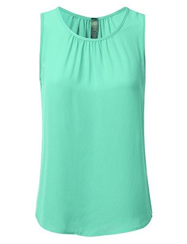 DRESSIS Womens Sleeveless Round Neck Slim Fit Pleated Chiffon Crepe Tank Top Mint L ()