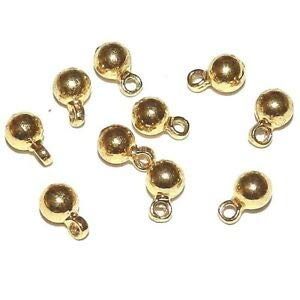 (Steven_store MB585 Gold 4mm Round Drop w Loop Metal Bead Charm Component 10pc Making Beading Beaded Necklaces Yoga Bracelets)