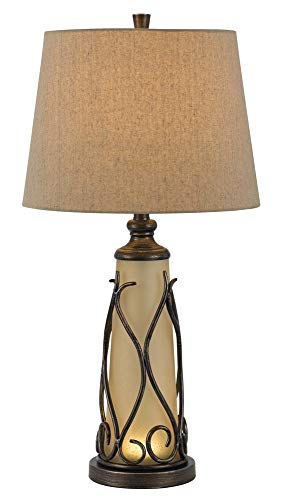 Cal Lighting BO-2348TB Transitional Two Light Table Lamp from Taylor Collection in Bronze/Dark Finish, 15.00 inches