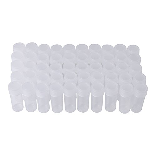 5ML Plastic Sample Bottles, 50 Pcs Small Clear Bottle, Scientific Plastic Test Tubes Screw Top Tube Caps Vial Clear Seal Cap by Walfront