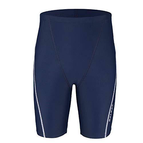 Baleaf Boys' Athletic Swim Jammer UPF 50+ Quick Dry Youth Training Swimming Short Swim Trunks Navy/White M