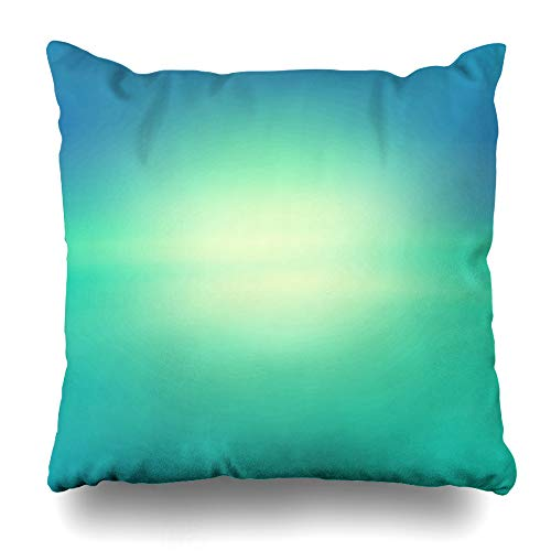- Ahawoso Throw Pillow Cover Blue Bokeh Blurry Abstract Gradient Green Horizon Turquoise Blur Light Color Water Design Home Decor Cushion Case Square Size 20 x 20 Inches Zippered Pillowcase