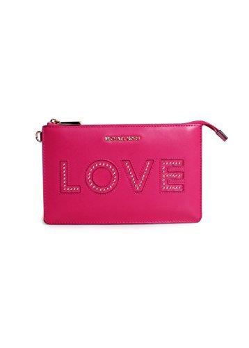 Michael Michael Kors Medium Gusset Leather Love Wristlet in Ultra Pink by Michael Kors (Image #1)
