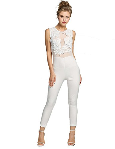 SFY Women See-through Patchwork Embroidery Body Mesh Bodycon Jumpsuit Clubwear