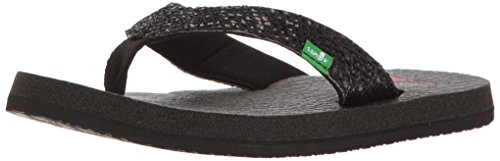 Sanuk Kids Girls' Yoga Glitter Flip-Flop, Black, 13/1 M US Little - Black Girls Flip Flop