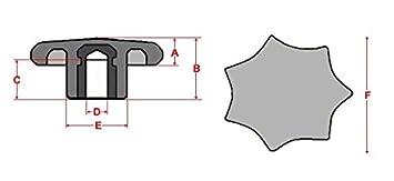 Sterngriffmutter Mutter M16 /Ø 80 mm DIN6336 K Menge:1 ST/ÜCK schwarz MENGE w/ählbar Stahlgewinde