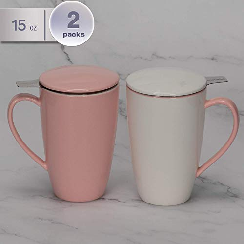 amHomel Porcelain Tea Mug With Infuser Basket and Lid for Steeping 15 OZ Cups, Mugs Set of 2 MintPink Color