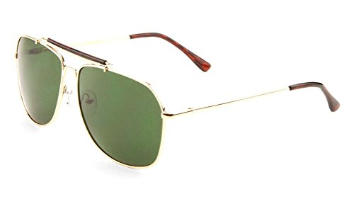 Classic Outdoorsman Aviator Sunglasses w/ Brow Bar (Gold Frame, - Style Outdoorsman