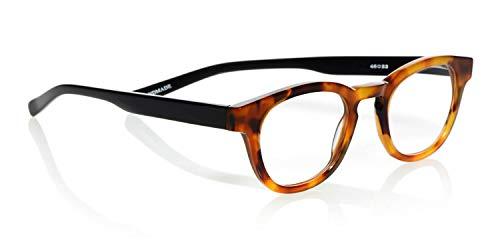 eyebobs Waylaid Unisex Premium Readers, Orange Tortoise Front with Black Temples, 2.00 Magnification