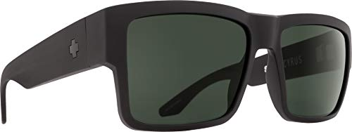 Spy Optic Men Cyrus Rectangular, Matte Black/Happy Gray/Green, 58 ()