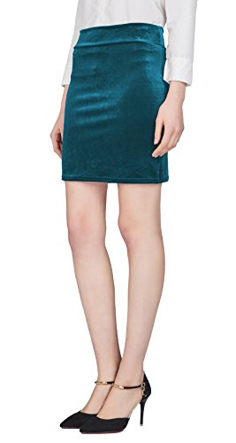 Urban GoCo Mujeres Falda Lápiz Terciopelo Stretch Bodycon de Cintura Elástica Midi Mini Tubo Falda Azul oscuro-Mini