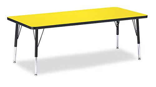 Berries 6413JCT187 Rectangle Activity Table, T-Height, 30'' x 72'', Yellow/Black/Black by Berries