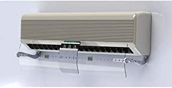Adjustable split air conditioner air flow guide, without wall perforation