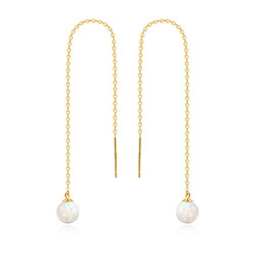 GEMSME 14K Solid Gold 6mm Opal Dangle Earrings for women