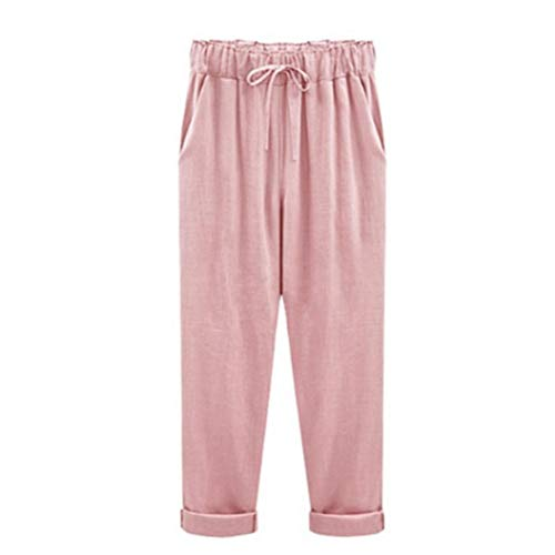 UOFOCO Plus Size Linen Pants for Women Summer Slim Lady Pants Casual Cotton Elastic Waist Pink