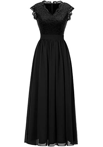 Dressystar 0050 V Neck Sleeveless Lace Bridesmaid Dress Wedding Party Gown S Black (Chiffon Floor Length Gown)