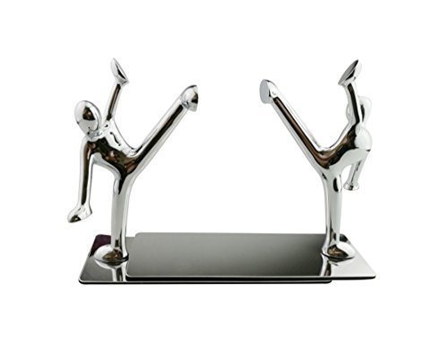Fashion Creative Stainless Zinc Alloy Decorative Small Humanoid Kung Fu Man Bookend Pair Fleet-footed Book Organizer Metal Bookends Book End Book File Home Office Library Decoration