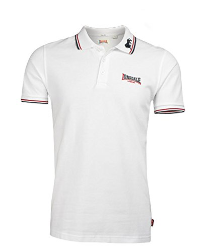 Lonsdale Men´s Slim-fit Tipped Pique Lion Polo Shirt 100% Cotton (Large (L)) White - White Tipped Pique Sport Shirt