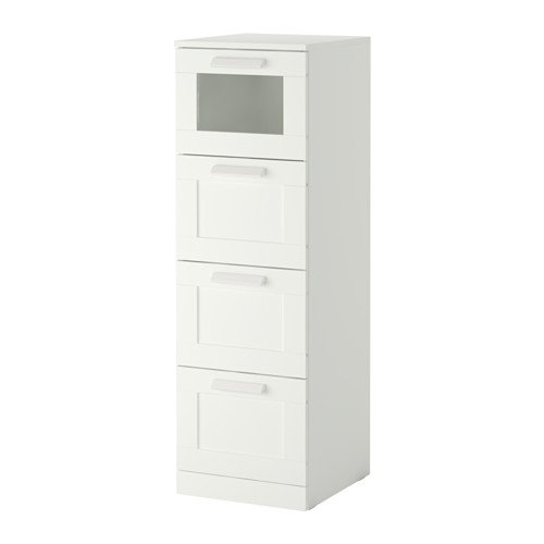 """Ikea 4-drawer chest, white, frosted glass Size 15 3/8x48 7/8 """""""