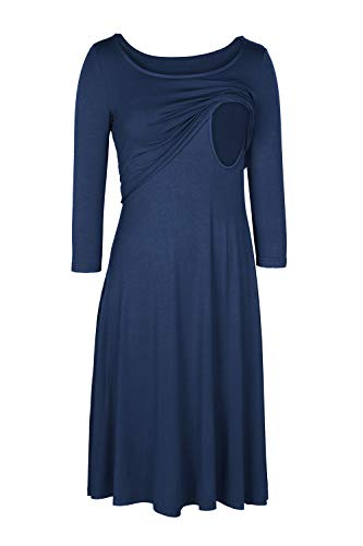 Neck Maternity Dresses Round (Meenew Women's Solid Color Round Neck Double Layer Chest Maternity Dress Blue S)