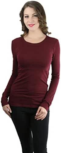 ToBeInStyle Women's Cotton-Blend Crew-Neck Staple Top with Long Sleeves