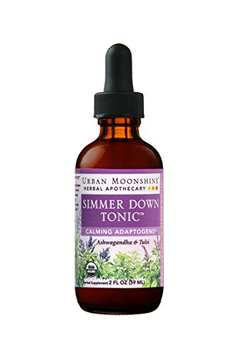 Urban Moonshine Simmer Down Tonic | Organic Herbal Supplement | Calming Adaptogens | Ashwagandha & Tulsi | 2 FL OZ (Pack of 1)