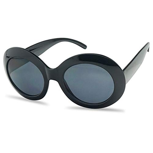 - Women's Oversized Thick Round Bold MOD Fashion Jackie O Inspired Sunglasses (Black, Black)