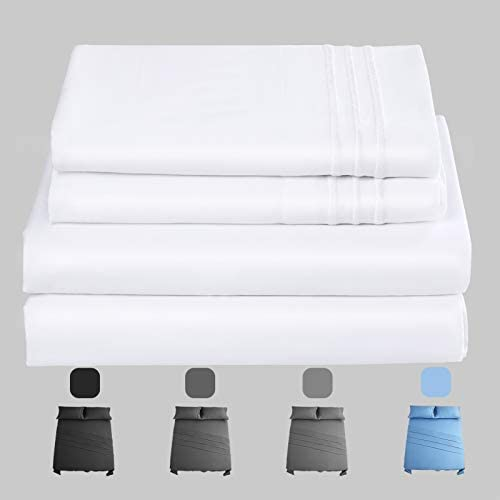 Premium 600 Thread Count 100% Cotton Queen Size Sheets Set | 4 Piece - Fitted, Flat Sheet & Pillowcase Shams | Long-Staple Cotton Bed Sheets Fits Mattress 14'' Deep Pocket| Superior Softness White