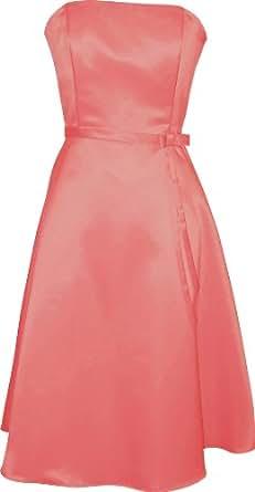50s Strapless Satin Bridesmaid Bridesmaid Dress Homecoming, XL, Coral