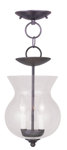 - Livex Lighting 4392-07 Legacy 2-Light Convertible Hanging Lantern/Ceiling Mount, Bronze