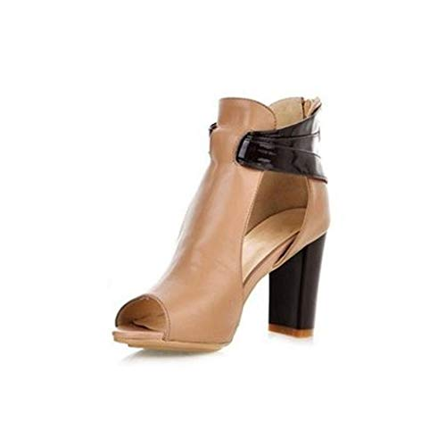 Size 32-43 Women's Natural Real Genuine Leather High Heel Sandals,Ivory,6