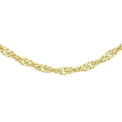 Carissima Gold 9ct Yellow Gold 16 Diamond Cut Twist Curb Chain of 50 cm uJil228h