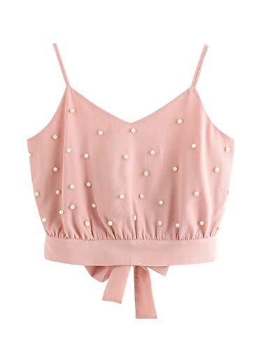 Sanyyanlsy Women's Fashion Chic Pearl Beaded Sleeveless V-Neck Short Vest Halter Bow Tie Straps Play Dating Daily Dress Up Wild Pink