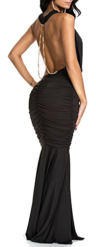 Chain Back Dress (made2envy Evening Draped Dress With Open Back and Chain D (L, Black) 70159BL)