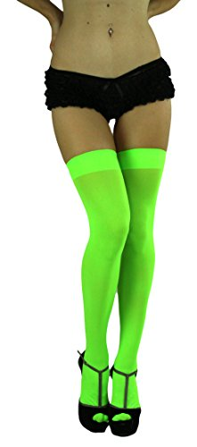 ToBeInStyle Women's Long Schoolgirl Stockings (Neon Green) -