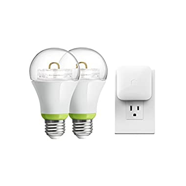 GE Link Wireless Starter Kit, A19 Smart Connected LED Light Bulb, Soft White (2700K), 65-Watt Equivalent, 2-Pack