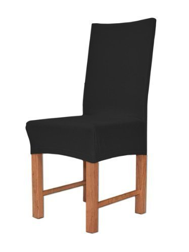 Edle Stuhlhusse Husse Stretchhusse aus Baumwolle - Elastic Stuhlüberzug Farbe Schwarz
