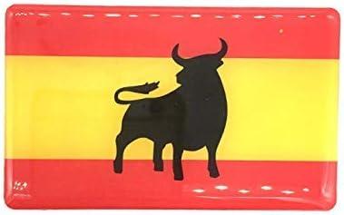 Pegatina de Resina Bandera España con Toro Rectangular 70x43mm, 1 Uds: Amazon.es: Coche y moto