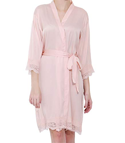 Womens Satin Lace Bride & Bridesmaid Robes (Blush)