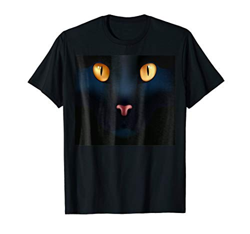 GIANT BLACK CAT FACE Halloween Shirt Costume Gift